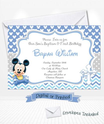 PRINTED Baby Mickey Birthday Invitations Mickey Baptism Invitations Christening