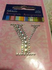 Letter Y Clear Diamond Rhinestone Gemstone Scrapbooking Sticker Alphabet