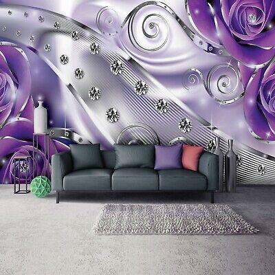 Fototapete LILA BLUMEN ABSTRAKT 3D Schlafzimmer Wohnzimmer TAPETE 368x254