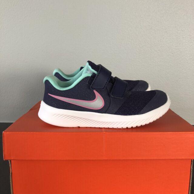 Girl's Nike Shoes Star Runner 2 (TDV) size 9C Dark Purple Green Gray Pink New