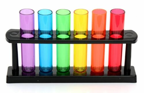 6 Multi Coloured Test Tube Shooters Rack Novelty Shot Glasses Party Drinking Fun