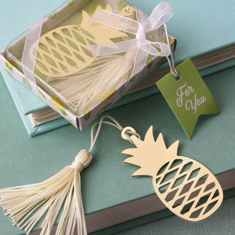 75 Gold Warm Welcome Pineapple Bookmark Wedding Bridal Shower Party Favors