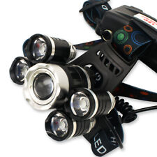 Rechargeable 80000LM Zoomable 5-LED Head Light Headlamp+18650 Battery+Charger CA