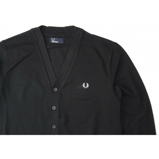 Fred Perry Men/'s Pique Cardigan In Black Jumper Sweater M4398-220