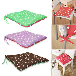 2X-TIE-ON-CUSHIONS-WITH-TWO-SIDED-POLKA-DOT-SPOT-COTTON-SEAT-PAD-DINING-UK