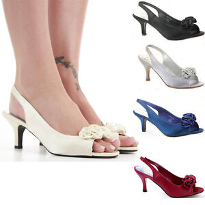 Ladies Party Wedding Bridal Low Mid Kitten Heels Prom Peeptoe ...