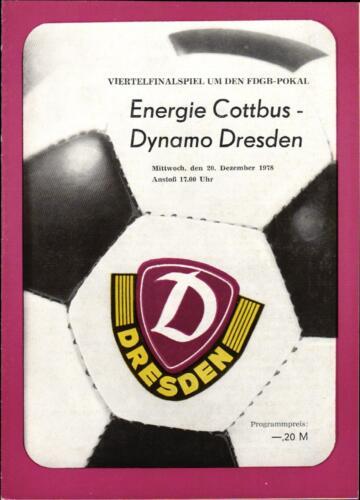 FDGB-Pokal 78/79 Dynamo Dresden Energie Cottbus 20.12.1978