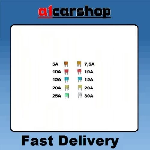 MG CAR ELECTRICAL MINI BLADE FUSE SET RED BLUE YELLOW GREEN BROWN CLEAR