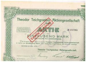 Theodor Teichgraeber AG, Berlin 1923, 1000 Mark, gelocht, VF+