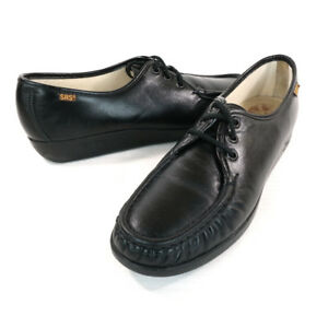 6a722a412fd6  129 SAS Siesta Black Leather Lace Up Comfort Walking Shoes Womens ...