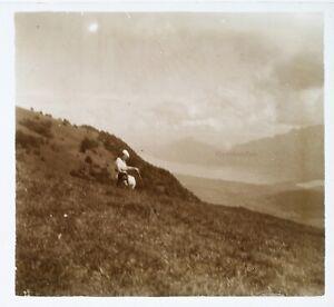Donna Montagne c1930 Foto Fuzzy Placca Da Lente Stereo Vintage VR16L12
