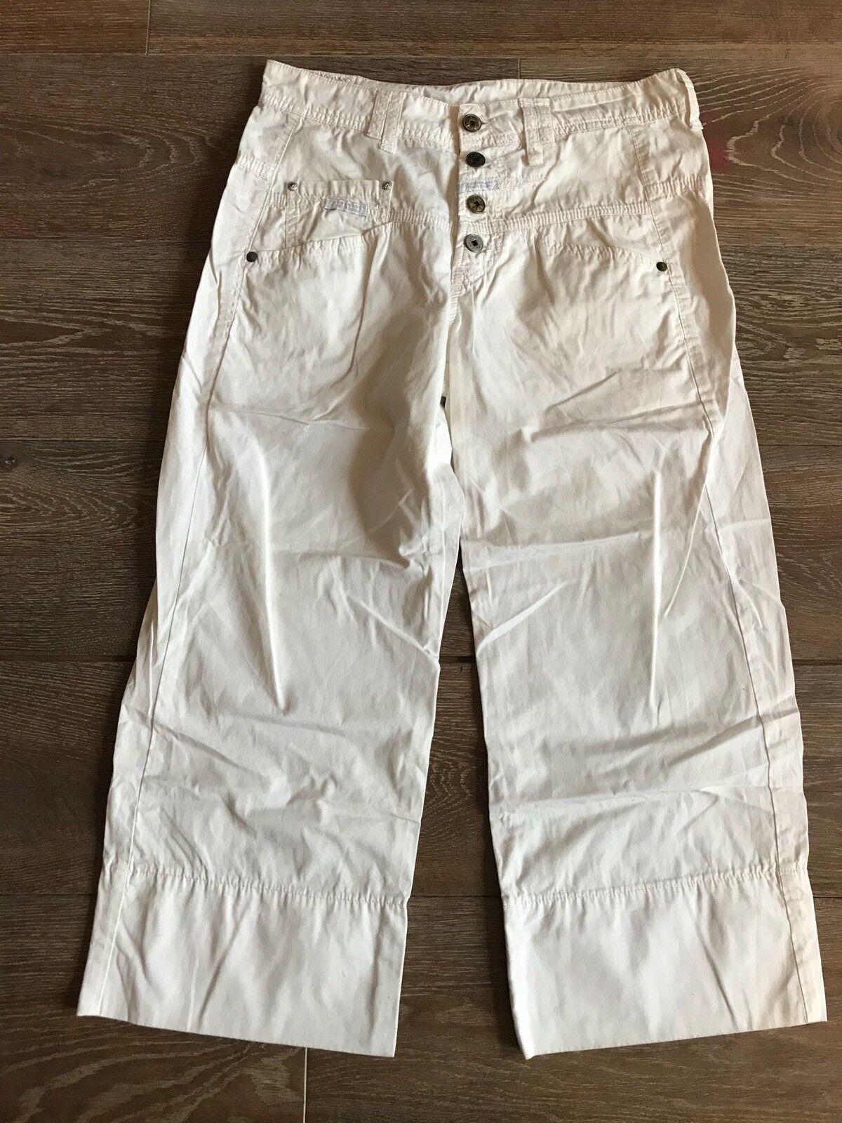 Marithe Francoise Girbaud 3 Quarter Length Cut Offs White Utility Trousers Fr 36