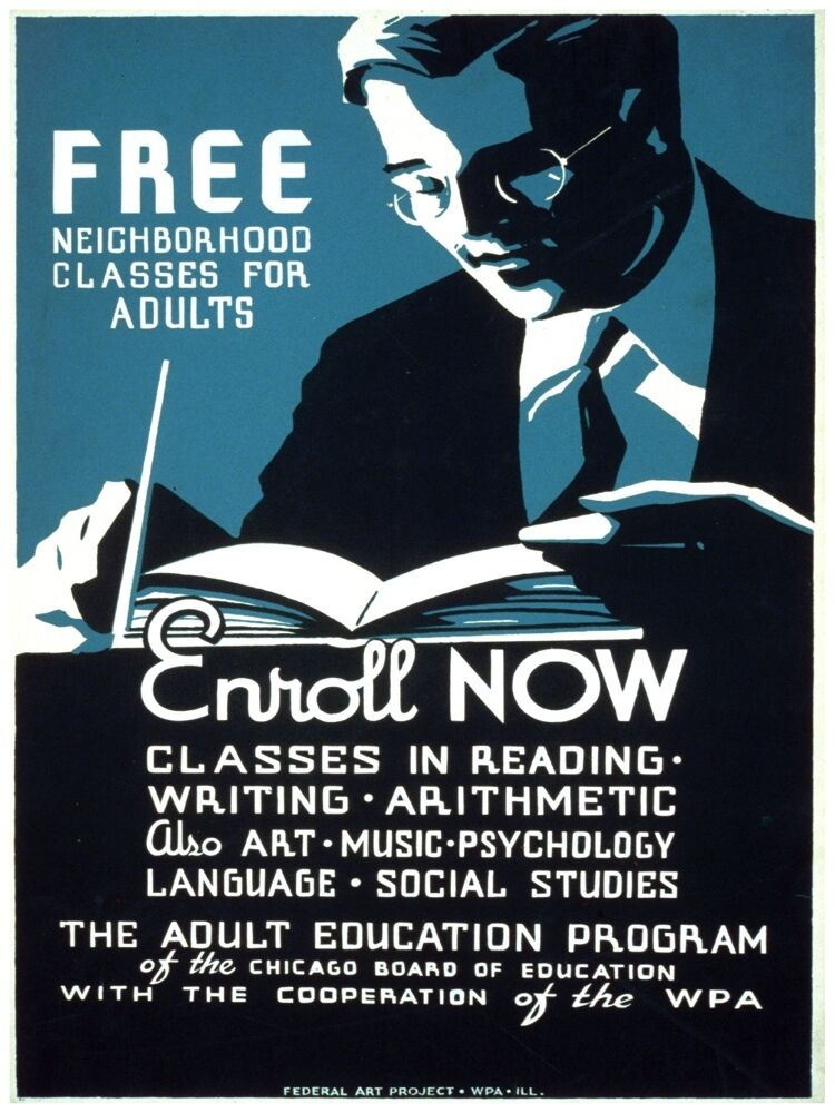 5653.Adult Education Program.classes in reading.writing.POSTER Home Office decor