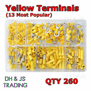 Assorted Box of Yellow Electrical Terminals Terminal Butt Ring Spade Tab Fork