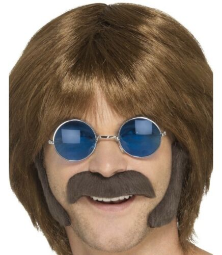 60s 70s Hippy Disguise Set Tash /& Sideburns Brown Fancy Dress Set by Smiffys