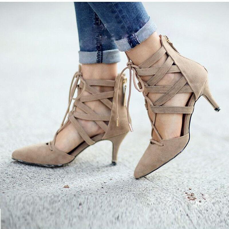 Mujer Mujer Mujer Gladiador Puntera en Punta botas al tobillo con Cordones Cremallera sólido Taco Alto Zapatos Talla  tienda de venta en línea