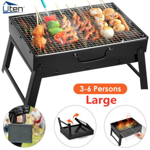 Large Charcoal BBQ Barbecue Grill Stainless Steel Cooking Stove Garden Camping