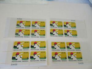 Professional Baseball 6c Stamp Sc#1381 Four Corner PB's of 4 Stamps MNH (#6)