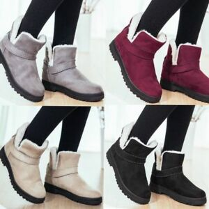 Damen-Stiefeletten-Winter-Warm-Pluesch-Schuhe-Stiefel-Profilsohle-Ankele-Boots-JO
