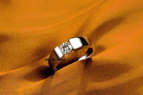 1 Ct Off White Moissanite Forever Enagagement Mens Ring 925 Sterling Silver