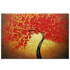 Abstract Oil Painting on Canvas Home Decor Wall Art Flower Tree On Brown Framed