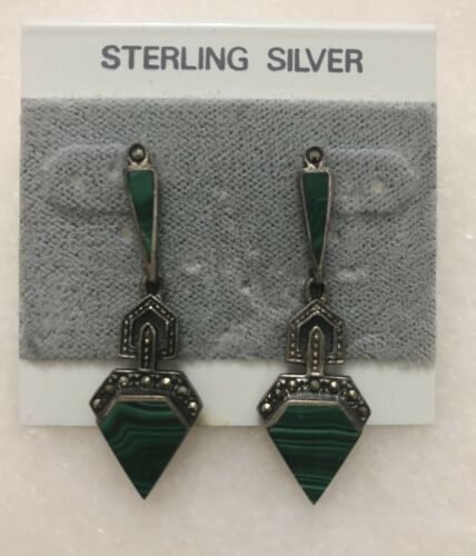 Vintage Art Deco Sterling Silver Malachite Pearce