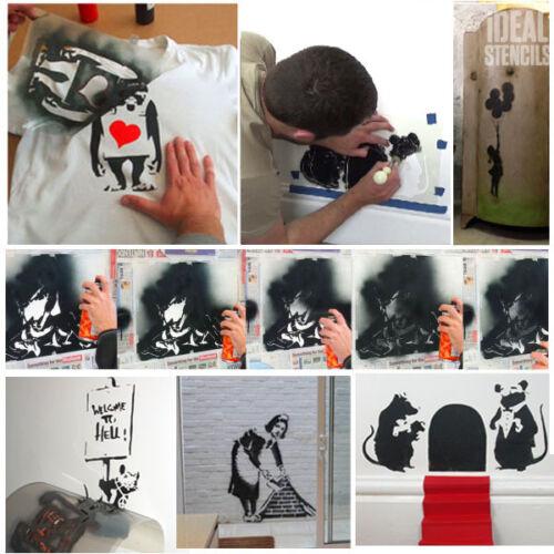 Banksy Girl Trike Heart Balloon /& Copper Reusable Wall Stencil Painting Decor