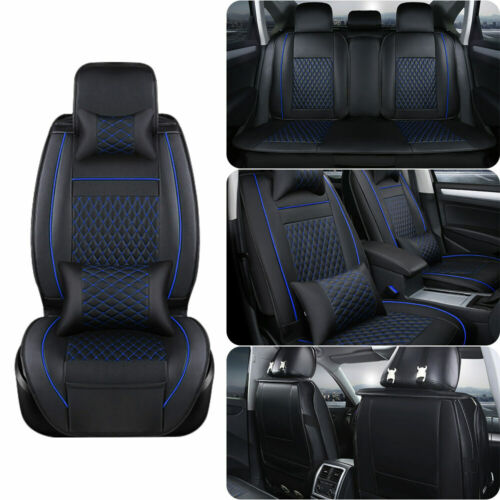 5-Seat Car Seat Cover Protector Cushions Front /& Rear Full Set Black /& Blue