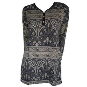 Tunic-Tops-Plus-Size-10-12-14-16-18-20-EVERSUN-Tan-Black-Dress-Paisley-Floral