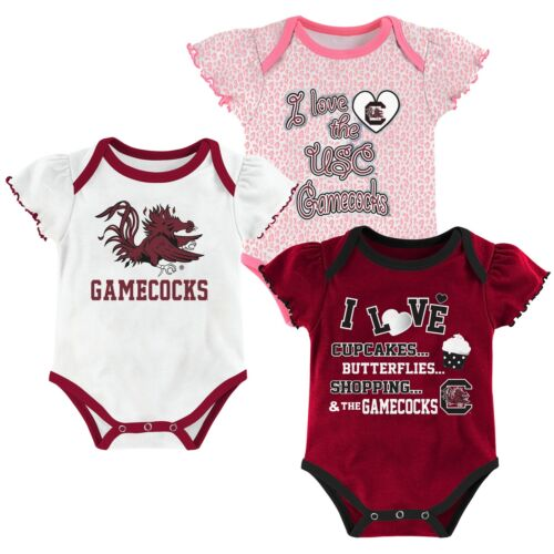 Outerstuff NCAA Infant Girls South Carolina Gamecocks Three Piece Creeper Set