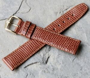 Hirsch-18mm-warm-brown-fully-stitched-Genuine-Lizard-vintage-watch-strap-NOS