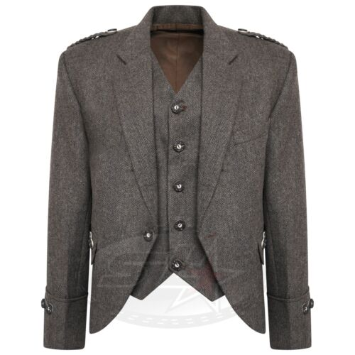 Tweed Crail Highland Kilt Jacket and Waistcoat Scottish Wedding Dress S,R,L Fit