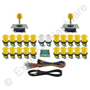 2 Player Arcade Control Kit 2 Ball Top Joysticks 22 Buttons Xin-Mo Yellow JAMMA