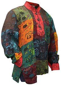 Mens-Collarless-Patchwork-Festival-Vintage-Summer-Colourful-Grandad-Hippie-Shirt