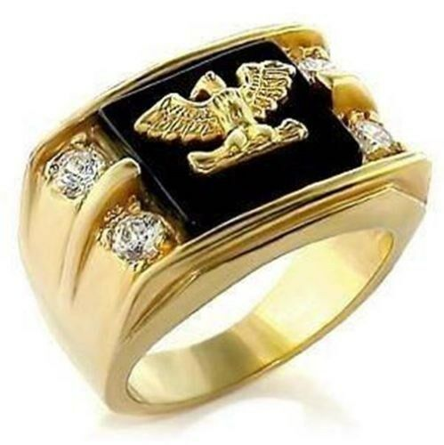 18K GOLD EP DIAMOND SIMULATED ROUND CUT MENS EAGLE DRESS RING sz 8-15 you choose