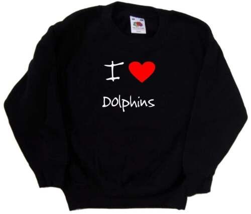 I Love Heart Dolphins Kids Sweatshirt