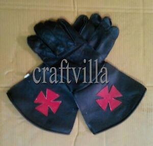 New Leather Masonic Knights Malta Gauntlets Gloves