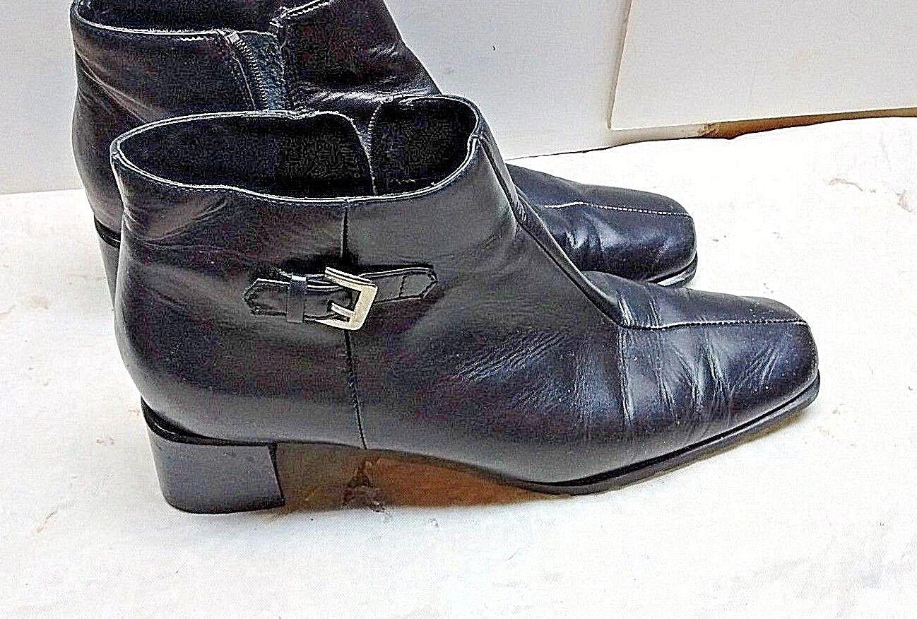 Ecco italiano para mujeres mujeres mujeres Cuero Negro botas al Tobillo Bloque Split Toe Cremallera Zapato 10.5M  sorteos de estadio