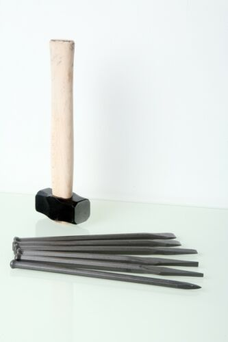 Fire-Sharp Stone Masonry Mallet Head 6 Piece Point /& Flat Chisels /& Club Hammers