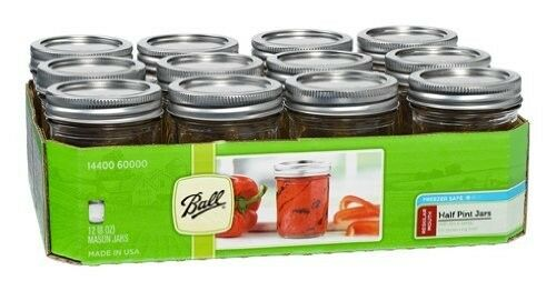 NEW 12 Pack 8 OZ Mason Jars w/ Lids Canning Ball Regular Mouth Half Pint Wedding
