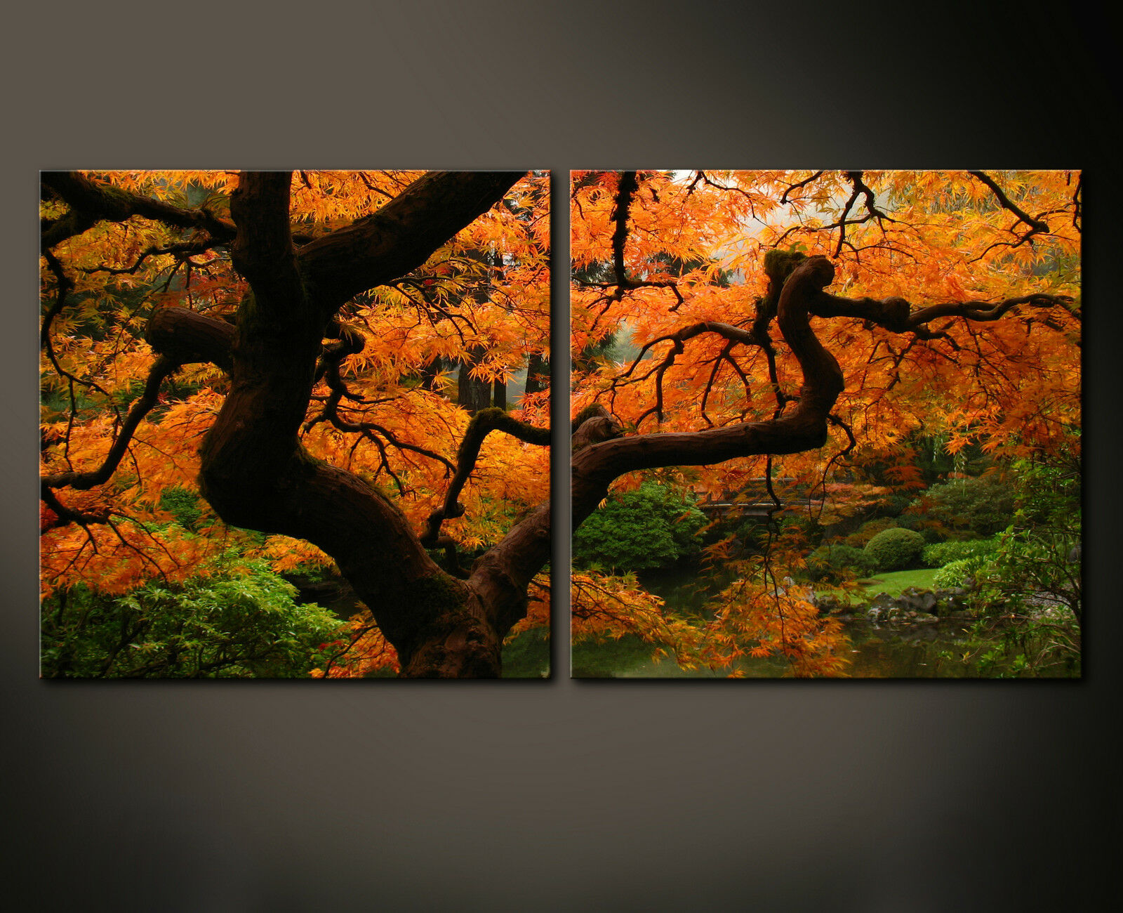 Giapponese Garden Muro Immagine Tela Gelb Arancione rot Giardino XXL
