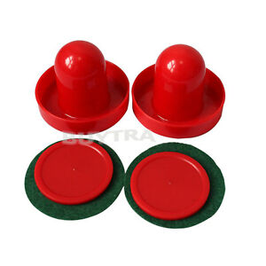 Mini-Air-Hockey-65mm-Goalies-50mm-Pucks-Felt-Pusher-Set-Unique-Sports-DSUS