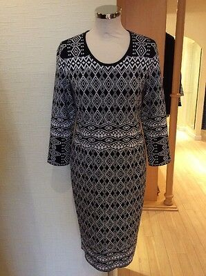 Riani Dress Size 16 Bnwt Black And White Patterned Knitted Rrp £259 Now £117 Weniger Teuer Damenmode