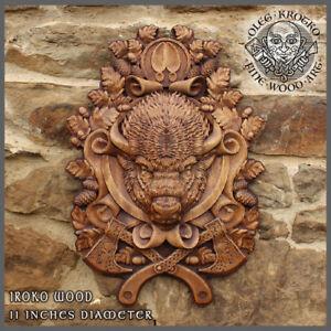 viking buffalo spirit pagan norse nordic animal wood carving wall rustic gift hu ebay. Black Bedroom Furniture Sets. Home Design Ideas