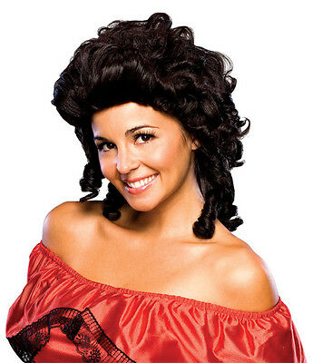 Womens Southern Belle Wig Curly Dark Brown Hair Curls Cowgirl Costume Adult NEW