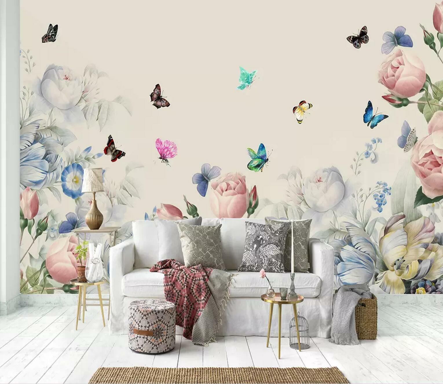 3D Roses Butterfly 45 Wall Paper Exclusive MXY Wallpaper Mural Decal Indoor wall