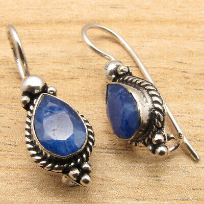 Earrings 925 Silver Plated Simulated EMERALD Gemset OLD STYLE ARTISAN Gift