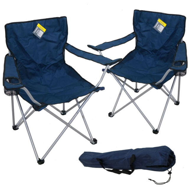 2X BLUE FOLDING CAMPING CHAIR FESTIVAL HIKING FISHING GARDEN INDOOR OUTDOOR NEW