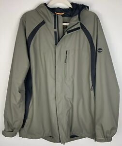 sports shoes preview of buy good Details about Timberland Waterproof Jacket Hooded Raincoat Green Black Mens  Size L Nylon Lined