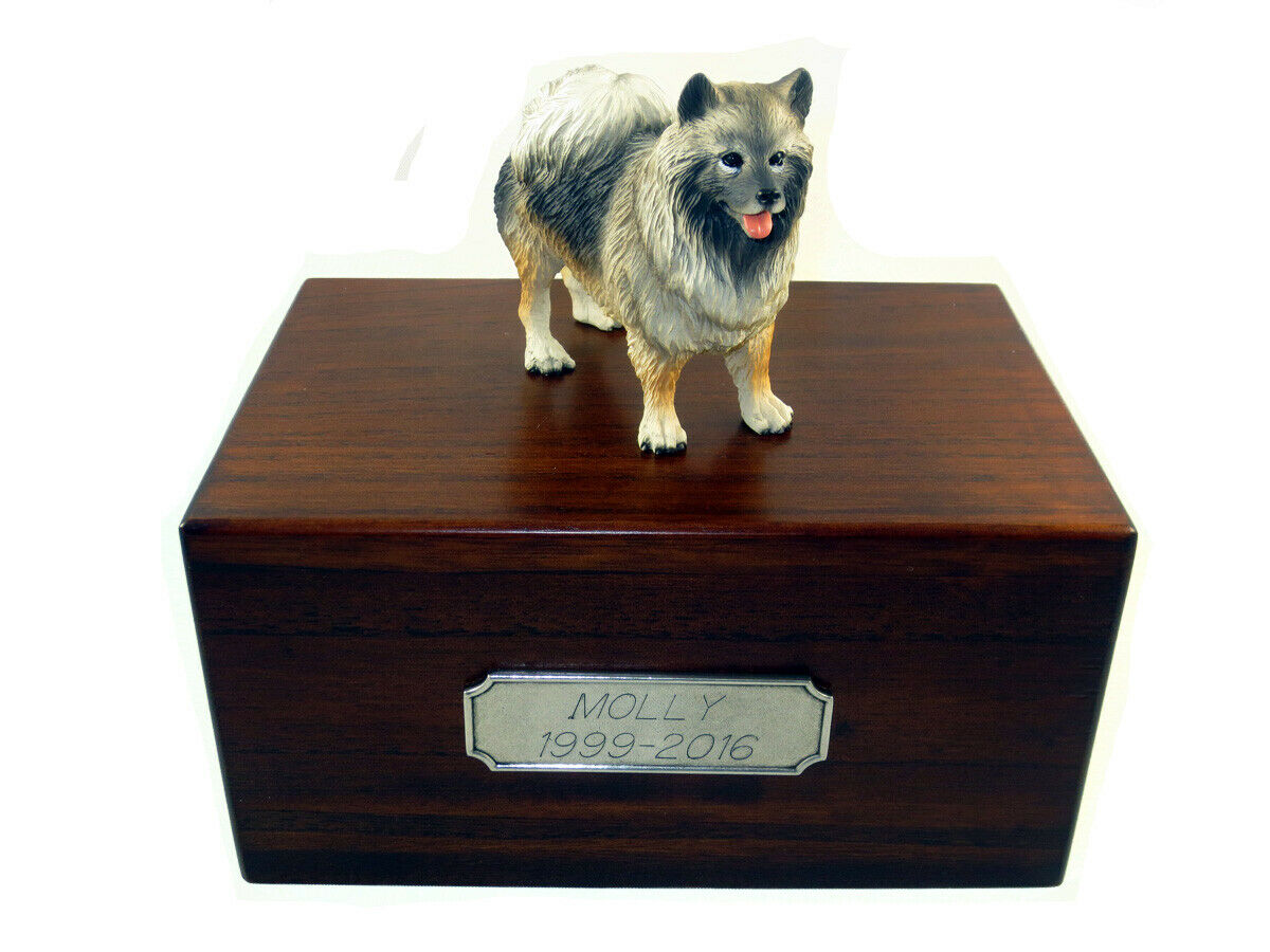 Beautiful Paulownia Wooden Personalized Urn With Keeshond Figurine